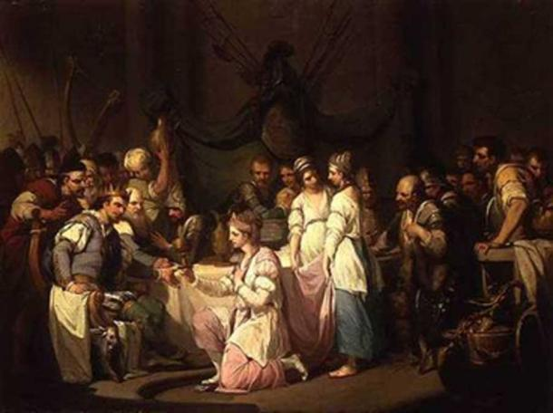 Meeting of Vortigern and Rowena painted by William Hamilton (Public Domain)