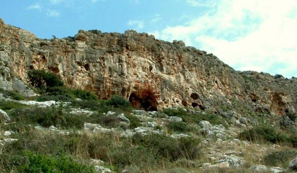 Megadim Cliff Mount Carml - Israel, in center Misliya Cave.