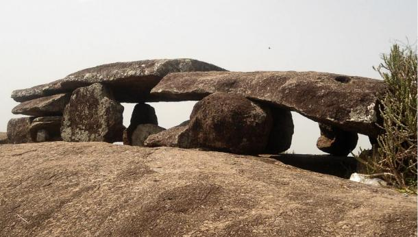 Megalithic Dolmen (said to be world's large single capstone as a dolmen with 36ft in length and 14ft in width and 2ft thickness) of early Iron Age at Dannanapeta, India