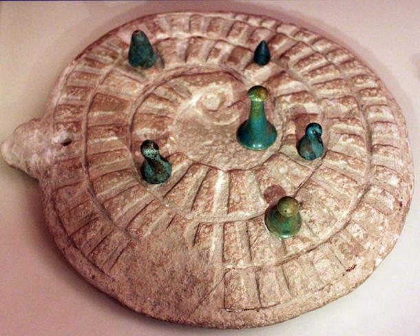 Mehen game with gamestones, from Abydos, Egypt.