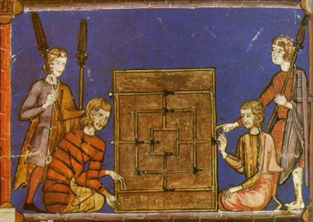 Men playing Nine Men's Morris with dice, pictured in Grunfeld, Frederic V. (1975) Games of the World. (Public Domain)