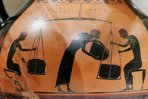 Men weighing merchandise. Side B of an Attic black-figure amphora.