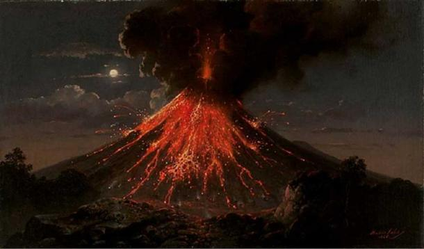 Merapi volcano, eruption at night. (1865) Raden Saleh.