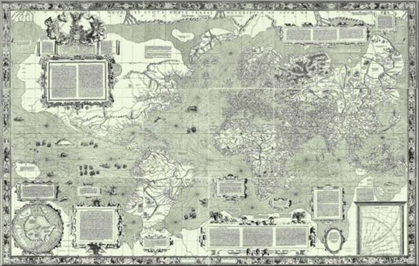 Mercator 1569 world map (Nova et Aucta Orbis Terrae Descriptio ad Usum Navigantium Emendate Accommodata) showing latitudes 66°S to 80°N. (Public Domain)
