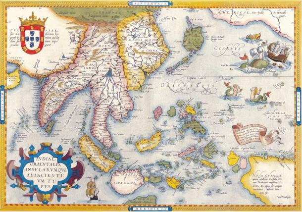 """Mercator map of """"India Orientalis"""", Amsterdam 1619.This redrawn map is contemporaneous with the Selden map. The map was made for medieval Portuguese trade in the Far East."""