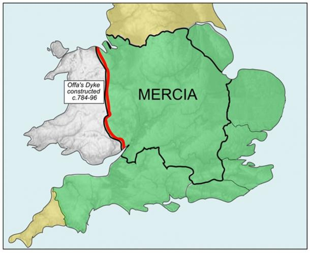 Mercia and southern England during Offa's reign; he consolidated the areas in green into one kingdom. (Rushton2010 /  CC SA-BY 3.0)