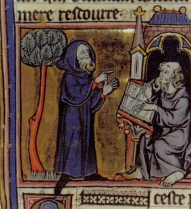 Merlin dictating his prophecies to his scribe, Blaise; French 13th century miniature from Robert de Boron's Merlin en Prose (written ca 1200).