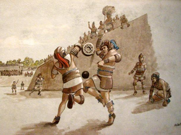 Artist's depiction of a Mesoamerican ball game