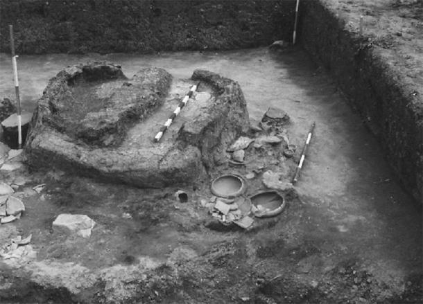 Metallurgical innovations during the Bronze Age - Late Vinča culture feature in trench 6 at Belovode excavated in 1997 that consisted of three ovens and a fireplace accompanied by 35 whole vessels and numerous pottery fragments as well as anthropomorphic and zoomorphic (bovine) figurines (D. Šljivar)