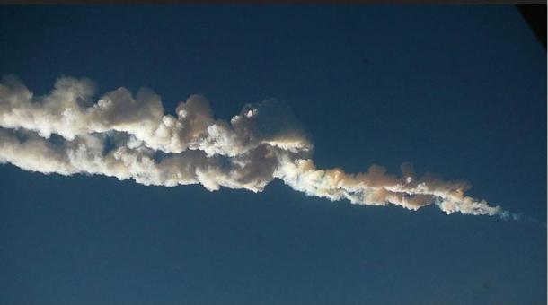 Meteor trail over Chelyabinsk, Russia.