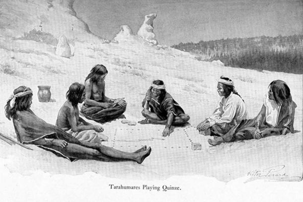 Mexico's Tarahumara people at play based on hole patterns at Tlacuachero site (1907 illustration).