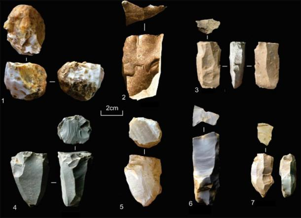 Microlithic blade cores from Dhaba. 1. Agate pebble microblade core with three microblade scars; 2. bidirectional core; 3. limestone unidirectional microblade core; 4. bidirectional microblade core with faceted platform from the surface of the site; 5. agate unidirectional microblade core; 6-7. chert bidirectional microblade cores with faceted platforms. (Clarkson et al.)