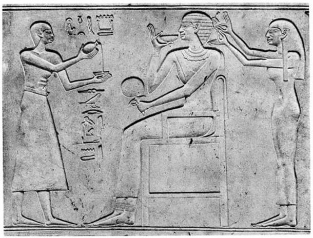 Middle Kingdom sarcophagus relief depicting a possible eunuch servant.
