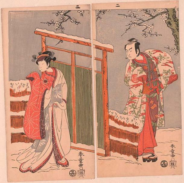 Middle and right leaf of a triptych from 1770 for the play Myoto giku Izu no Kisewata. The actor Segawa Kikunojo II is in the role of Yuki-onna (left) and actor Arashi Sangoro II is Minamoto no Yoritomo (right).