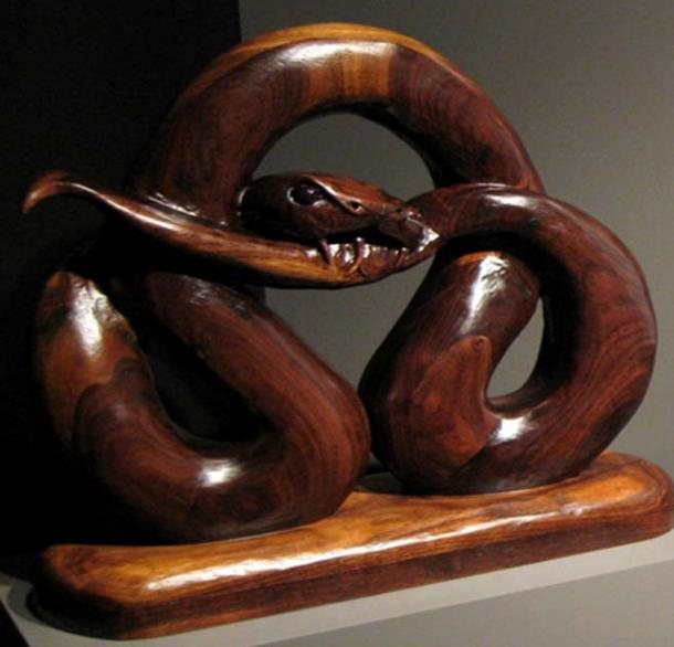 Midgard Serpent wooden carving, detail. (CC BY NC-SA 2.0)