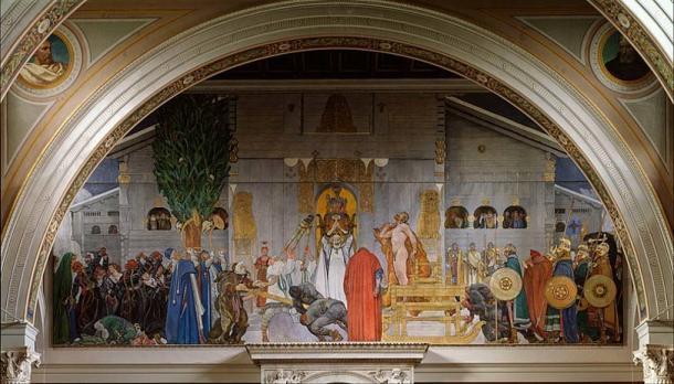 'Midvinterblot' (1915) by Carl Larsson: King Domalde offers himself for sacrifice before the hof at Gamla Uppsala.