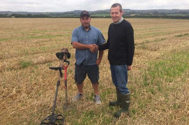 Mike Smale (left) detected the coins on farmland managed by Anthony Butler (right)