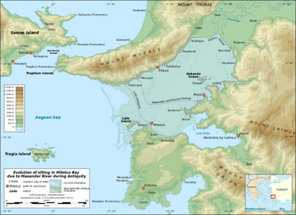 Map showing the silting evolution of Miletus Bay due to the alluvium brought by the Maeander River during antiquity.