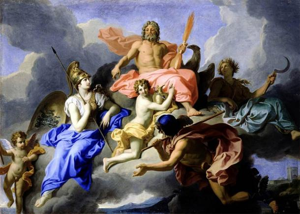 Minerva and the Triumph of Jupiter showing the goddess Athena sitting at the right hand of her father Zeus while the goddess Demeter sits in the background holding a scythe (René-Antoine Houasse / Public domain)