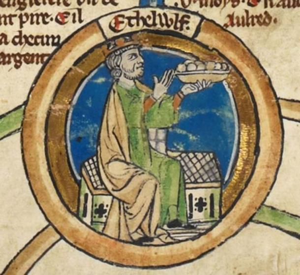 Miniature of King Æthelwulf of Wessex in the Genealogical roll of the kings of England. (Public Domain)