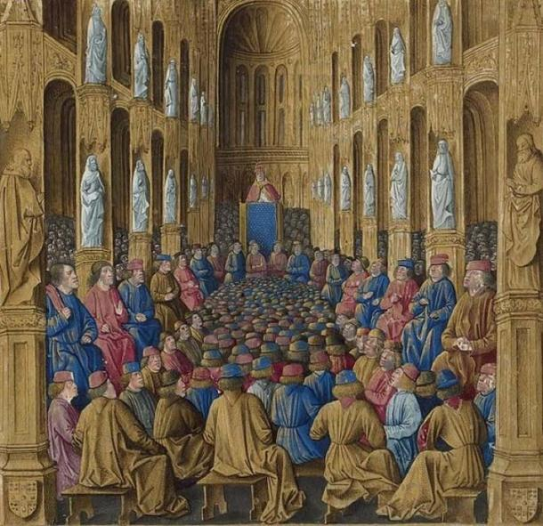 Miniature: Pope Urban II preaching at the Council of Clermont. Sébastien Mamerot, 'Les passages d'outremer.' (Public Domain)