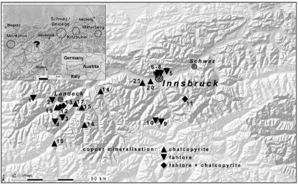 Mining archaeological research gap in the western part of North Tyrol (top left) and mapping of surveyed and sampled copper mineralizations during a 2013 study of Copper mineralizations in western north Tyrol in prehistoric times.