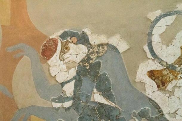 Close up of Minoan monkey art in Akrotiri, Greece. (ZDE / CC BY-SA 3.0)