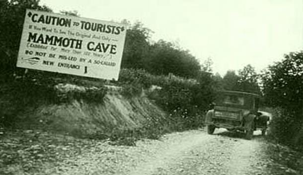 Misleading signs were placed along the roads leading from Cave City to the Mammoth Cave to misguide tourists during the cave wars. (Appalachian History)