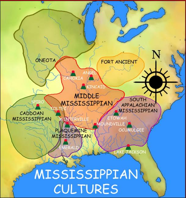 A map showing the various Mississippian cultures, as well as the other cultures influenced by the Mississippians.