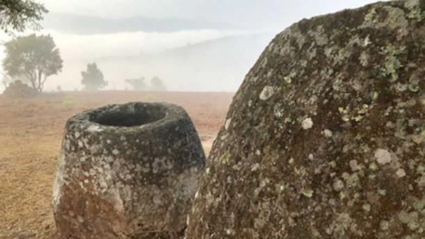 Misty day at Site 2 showing two sandstone megalithic jars. (Australian National University / Fair Use)