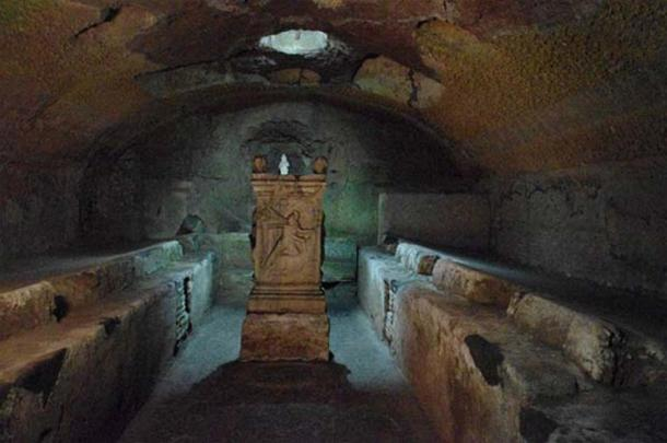 Mithraeum in lowest floor in San Clemente in Rome, Italy.