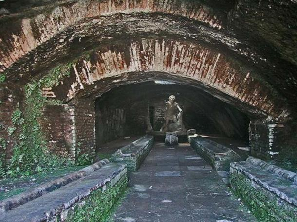 Mithraeum of the Baths of Mithras (Mitreo delle Terme del Mitra) viewed from the north (regio I, insula XVII). Ostia Antica, Italy. (Public Domain)