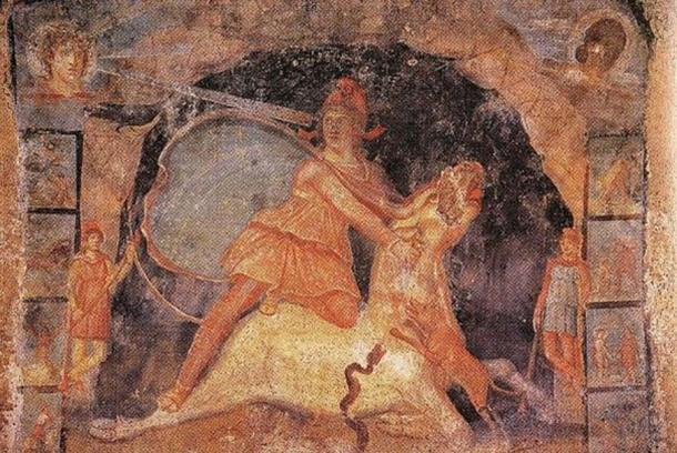 Mithras and the bull, fresco from Temple of Mithras, Marino, Italy, dated 2nd AD. (Public Domain)