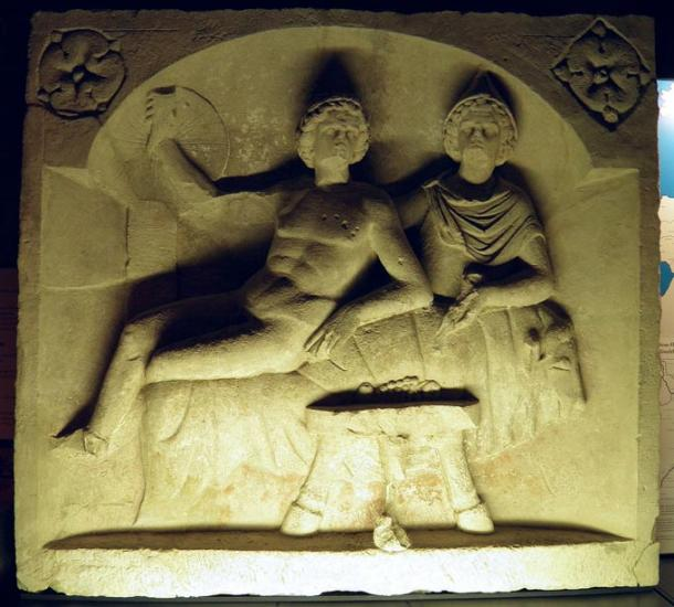 Mithras and the sun enjoy a banquet, Roman relief of around 130 AD. Mithras was an ancient Persian god of light and dark whom some Romans absorbed into their religion. Some claim that Mithras inspired some of the beliefs around Jesus.