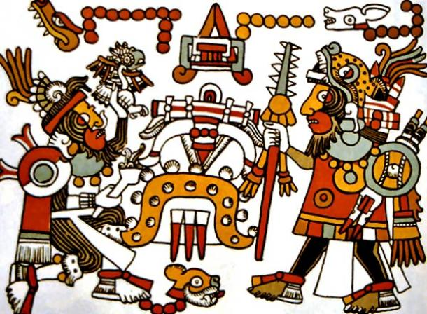 Mixtec king and warlord Eight Deer 'Jaguar Claw', on right, meeting with Four Jaguar, on left