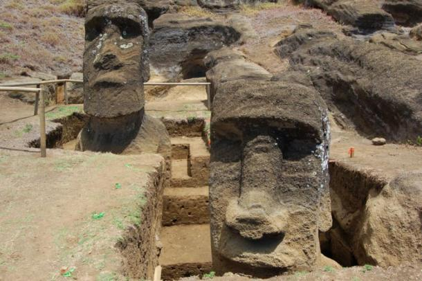 The two Moai excavated by Jo Anne Van Tilburg are shown at the Rano Raraku quarry, Easter Island. (Jessica Wolf / University of California, Los Angeles)