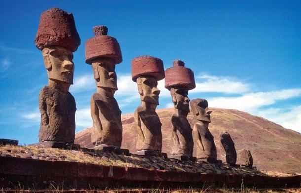Moais (stone statues) on Ahu Nau, Anakena Beach, Easter Island.