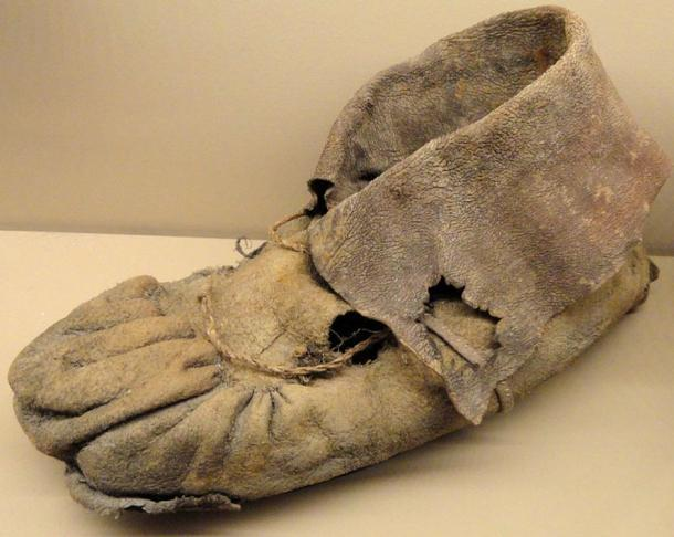 Moccasin from the Promontory Cave, made with Bison hide. Exhibit in the Natural History Museum of Utah, Salt Lake City.