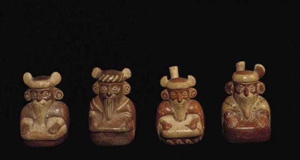 Moche ceramic vessels depicting bearded men.