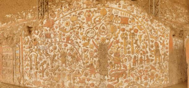 Moche mural in Huaca de la Luna, Peru