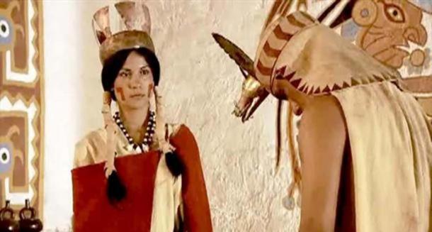 Representation of a Moche priestess.
