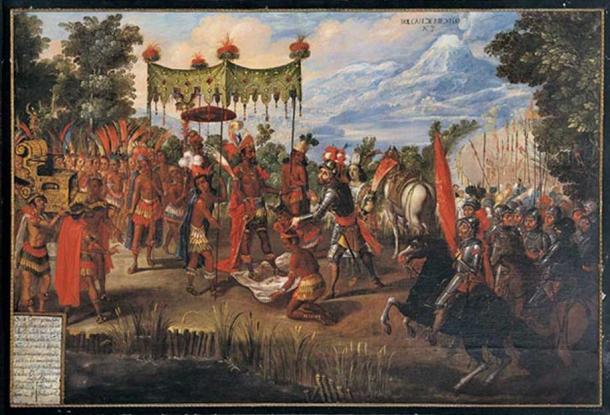 Moctezuma presents gifts to Cortez (public domain).