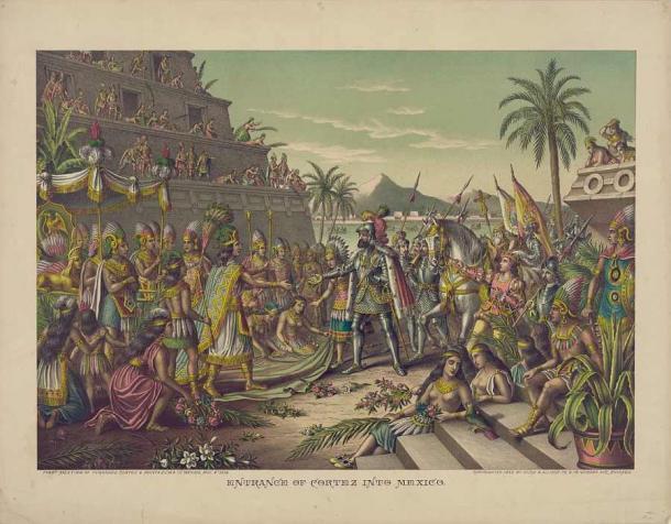 Moctezuma II, the father of Isabel Moctezuma, meeting Hernán Cortés. (Public domain)