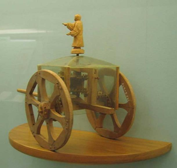 Model of a Chinese South Pointing Chariot, an early navigational device using a differential gear.