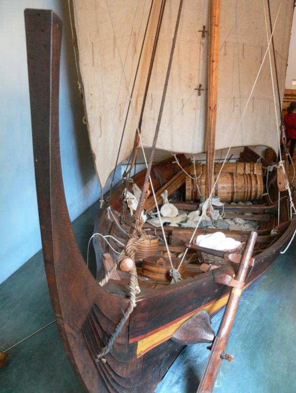 Model of a Viking age trade ship in the Ribe Viking Museum