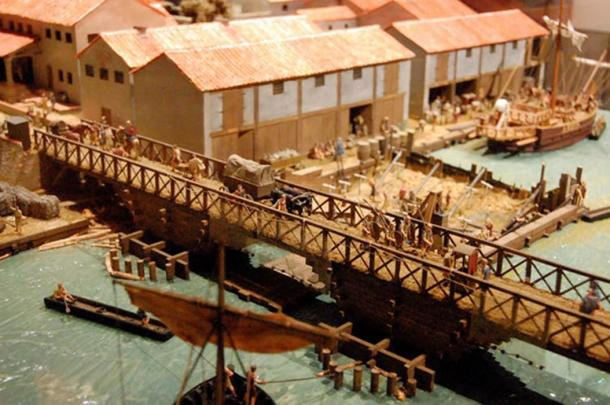 Model of the first bridge over the Thames (85-90AD) at the Museum of London. Image: Steven G Johnson/CC BY SA 3.0