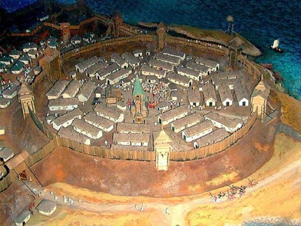 Model of the layout of Zaporizhzhya Sich in the site museum.