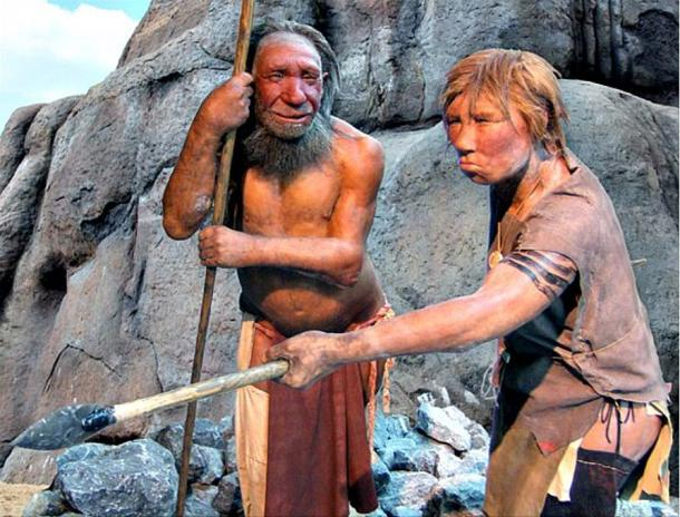 Models of a Neanderthal man and woman. Neanderthal Museum, Dusseldorf.