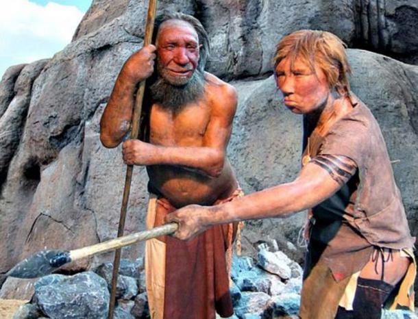 Models of a Neanderthal man and woman. Neanderthal Museum, Dusseldorf.