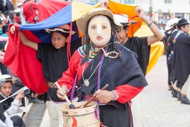 Modern Inti Raymi festival in Saraguro, Ecuador.